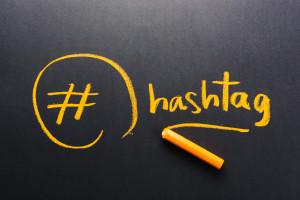 Handwriting of Hashtag symbol on chalkboard
